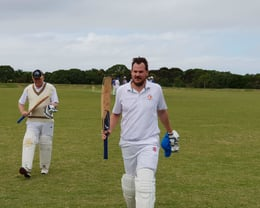 Andrew Goldsmith after scoring a mamouth 171 Not out, including 16 sixes